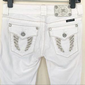 Miss Me White Skinny Rhinestones Distressed Jeans